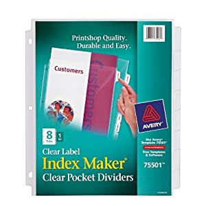 avery 8 tab clear label dividers template - avery index maker clear pocket clear label