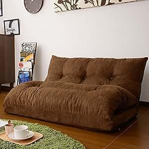 (DORIS) ローソファ ソファーベッド 【ホクト ブラウン】 背もたれ14段階リクライニング 日本製ギア マイクロスエード調生地 横幅108cm