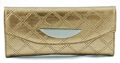 Kenneth Cole Reaction Womens Clutch Wallet Tri-fold iPhone/cell Holder Quilted (Champagne)