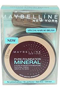 Maybelline Pure Mineral Foundation - Loser Puder mit Kabuki Pinsel - 73 Dune