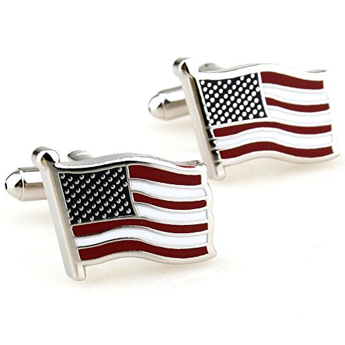 Covink-Flying-American-National-Flag-Mens-Office-Cufflinks-Cuff-Buttons-Silver-One-Pair
