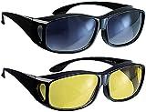 infactory Schärfer-Sehen-Set mit 2 Überziehbrillen Day Vision & Night Vision