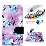 CocoZ® Samsung Galaxy Note 4 Hawaiian Flowers Beautiful PU Leather Wallet Type Flip Case Cover with Credit Card Holder Slots for Samsung Galaxy Note 4 Inch Release on 2014 (Purple taro Hawaiian Flowers Pattern Design)