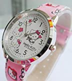 U-beauty Pink Hello Kitty Girls Ladys Wrist Quartz Watch Faux Leather