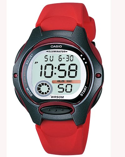 Casio LW-200-4AV Women's Digital 50 Meter Water Resistant LED Back Light Red Strap Watch