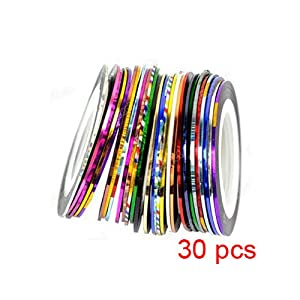 SODIAL(R) 30Pcs Mixed Colors Rolls Striping Tape Line Nail Art Tips Decoration Sticker