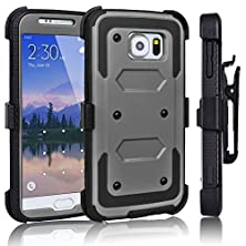 buy Galaxy S6 Case, Tekcoo(Tm) [Tshell Series] [Ash Grey] Shock Absorbing [Kickstand] Holster Locking Belt Clip Defender Heavy Duty Combo Case Cover Shell For Samsung Galaxy S6 S Vi G9200 All Carriers