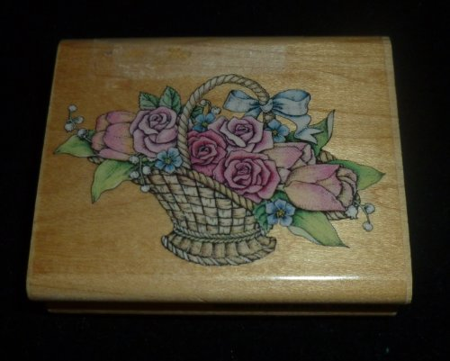 Romantic Flower Basket Rubber Stamp - 1