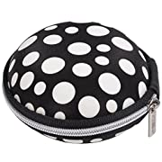 Case Star ® Unique Polka Dot Round Shape MEElectronics M6 PRO Universal-Fit Noise-Isolating Earphone Handsfree Headset Hard Case with Zipper Enclosure + Case star cellphone bag (Black and White)