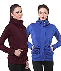 PURYS Royal Blue & Wine Fleece Buttoned Sweatshirts Combo of 2