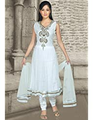 Utsav Fashion Women's Off White Net Readymade Anarkali Churidar Kameez-XXX-Large