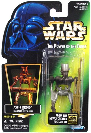 Star Wars The Power of the Force 4 Inch Action Figure - ASP-7 Droid with Spaceport Supply Rods