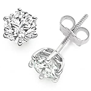 1.05 Carat D/VS1 Round Brilliant Certified Diamond Solitaire Stud Earrings in Platinum