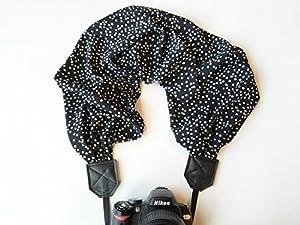 scarf camera strap - camera neck strap - dslr camera strap - black and white polka dot