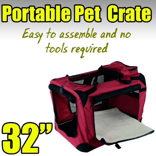 New Large Dog Pet Puppy Portable Foldable Soft Crate Playpen Kennel House - Red front-1023393