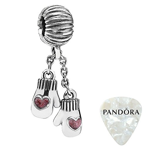 Winter Mittens, Pink Enamel Charm, Two Piece Bundle, with Pandora Clasp Opener