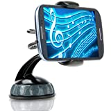 USA GEAR Universal Car Windshield Cradle Mount Dashboard Clip Phone Holder with 360 Degree Rotation & Strong Suction - Works With Apple iPhone 6s , Samsung Galaxy S6 Edge+ , Note 5 & More Smartphones