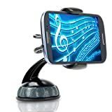 USA Gear Universal Windshield Dashboard Car Clip Mount Holder - Works With Apple iPhone 6 , 6 Plus , Motorola DROID Turbo , Samsung Galaxy S5 , Google Nexus 6 , Sony Xperia Z3 and More Smartphones