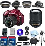 Nikon D5300 (Red) 24.2 MP CMOS Digital SLR with 18-140mm f/3.5-5.6G ED VR Lens ALS VARIETY Premium Lens Kit + 2 High Speed 16GB Memory Cards + 9pc Bundle - International Version