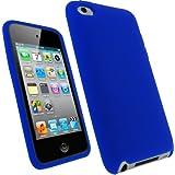 igadgitz Silikon Schutzhülle Hülle Tasche Etui Case Skin in Blau für iPod Touch 4G 4. Gen Generation  8gb 32gb & 64gb + Display Schutzfolie