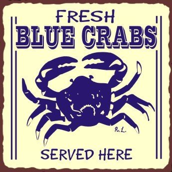 Blue Crabs Vintage Metal Retro Art Tin Sign