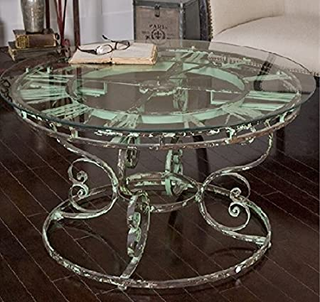 """36"""" Antiqued Light Green Curled Iron Round Clock Coffee Table"""
