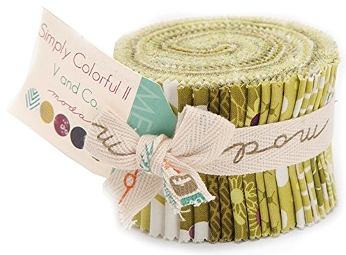 Moda SIMPLY COLORFUL II GREEN Junior Jelly Roll 2.5