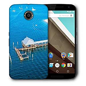 Snoogg Blue Beach Designer Protective Phone Back Case Cover For Motorola Nexus 6