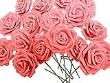 バラ 造花 50個 茎付き 8cm セット 手作り アレンジメント 結婚式 パーティー お祝い に(赤)