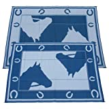 Fireside Patio Mats Blue Horseshoe Blue and White 9 ft. x 12 ft. Polypropylene Indoor/Outdoor Reversible Patio/RV Mat