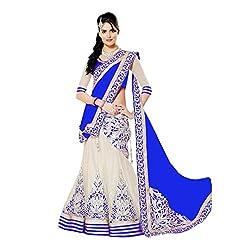 Khazanakart Exclusive Designer Blue Color Net Fabric Un-stitched Lehenga Choli With Chiffon Dupatta Material.