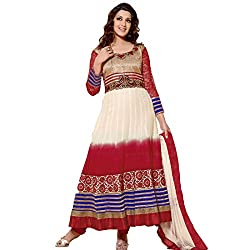 Rozdeal Women Georgette Embroidered Unstitched Half Sleeve Off White And Maroon Anarkali Suit