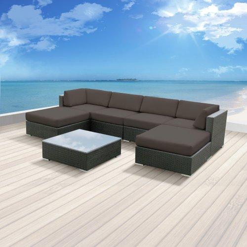 Luxxella Patio Mallina Outdoor Wicker Furniture 7-Piece All Weather Couch Sofa Set, Dark Grey