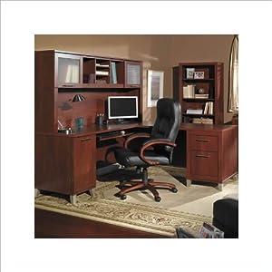 Bush Furniture Somerset L-Shaped Wood Home Office Desk Set in Hansen Cherry