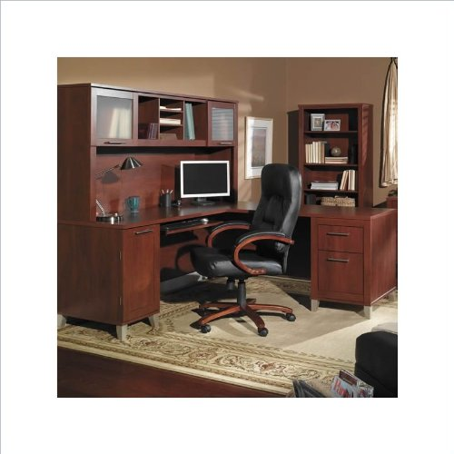 Black friday bush furniture somerset l shaped wood home office desk set in hansen cherry cheap - Cheap black desks ...