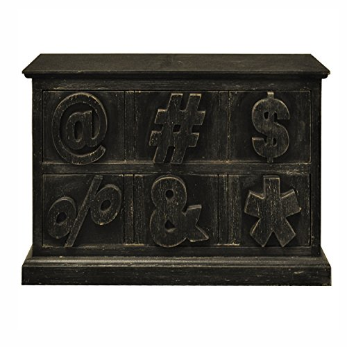 Distressed Wood Cabinet With 2 Drawers With Symbols (Distressed Black)
