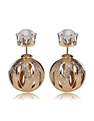 Celebrity Inspired Golden Cut Out Design Double Bubbles Earring By Via Mazzini