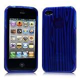 iPhone 4 ケース ソフト TPU ゼブラ模様 ブルー 液晶保護フィルム USB充電ケーブル付
