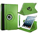 Stuff4 Leather Smart Case with 360 Degree Rotating Swivel Action and Free Screen Protector/Stylus Touch Pen for Apple iPad 2/3/4 - Green