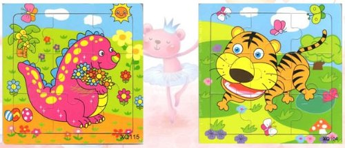 2pcs Wooden Cartoon Animal Jigsaw Puzzle Early Educational Toys Gifts (Dinosaur + Tiger?
