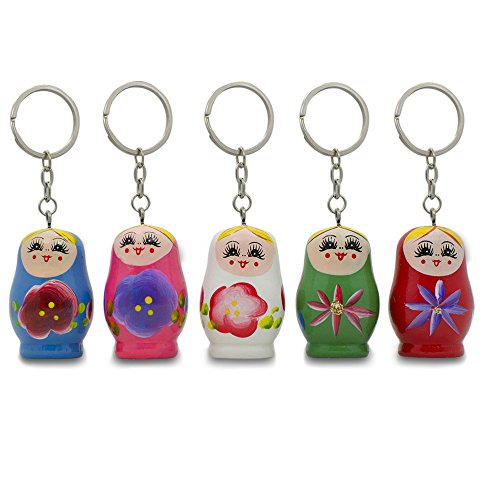 Set of Five 1.75″ Matryoshka Wooden Dolls Key Chains #1