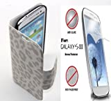 "(White) Leopard Magnetic Clasp Wallet Flip Cover PU Leather Carrying Stand Case for Samsung Galaxy S3 SIII ""Fits All Carriers: Verizon, AT&T, T-Mobile, Sprint"", (FREE: ANTI-GLARE, ANTI-FIGERPRINT FRONT SCREEN PROTECTOR)"