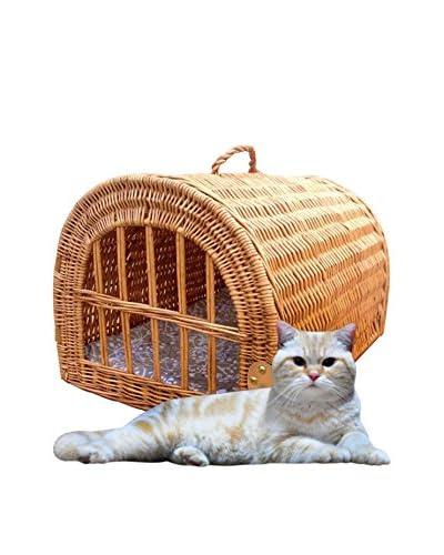 Home Bazaar Wicker Pet House/Carrier, Honey, M