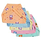 A'la Mode Creation Printed Small Muslin Tying Nappies Pack Of 5 - Multi Coloured ( 0-3 Months ).