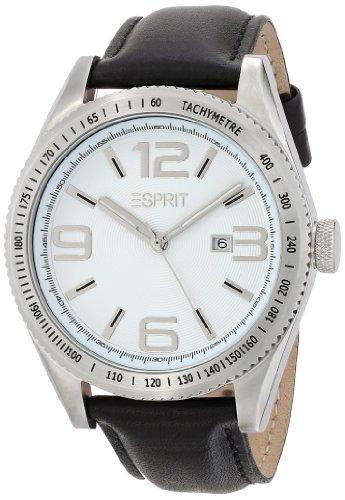Esprit  Verdugo Black - Reloj de cuarzo para hombre, con correa de cuero, color negro