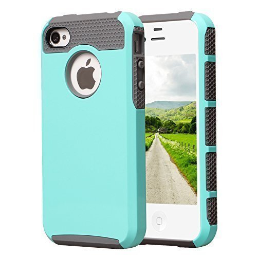 iPhone 4S Case, KAMII Dual Layer Hybrid Luxury Fashion Shockproof Soft Hard Plastic Hard Shell and Flexible TPU Case Cover for Apple iPhone 4/4S (Aqua Gray) (Iphone 4s Back Glass Marvel compare prices)
