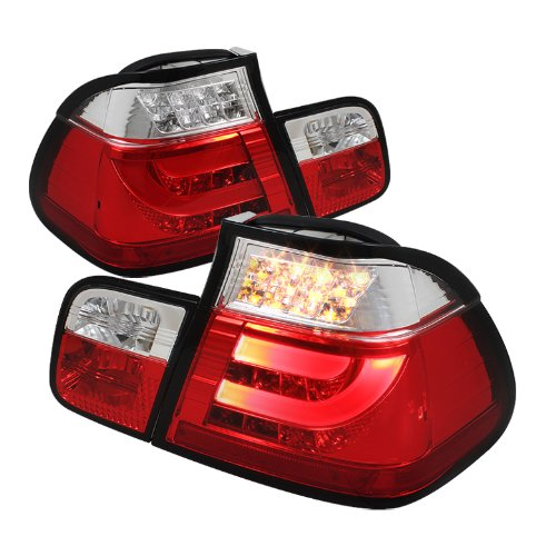 Spyder Auto Alt-Yd-Be4699-4D-Lbled-Rc Bmw E46 3-Series 4-Door Red/Clear Light Bar Style Led Tail Light