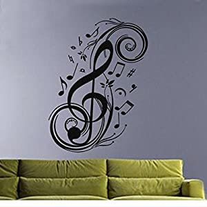 Wall Decor - Wall Art Decor Removable Vinyl Decals Stickers Musical Music Notes Swirls by Mark8shop