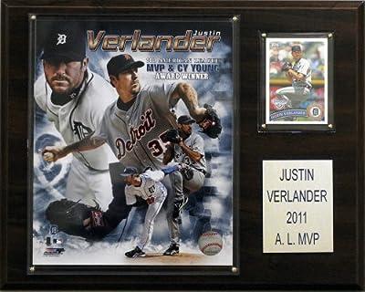MLB Justin Verlander 2011 MVP Detroit Tigers Player Plaque