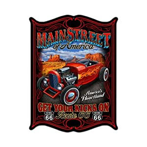 Main Street America Route 66 Vintage Metal Sign Automotive 14 X 19 Steel Not Tin